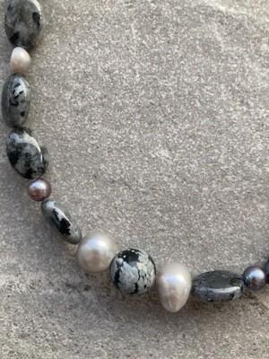 Collier Larvikit Labradorit mit Perlen