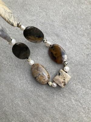 Collier Achat mit Perlen und Dalmatiner Jaspis