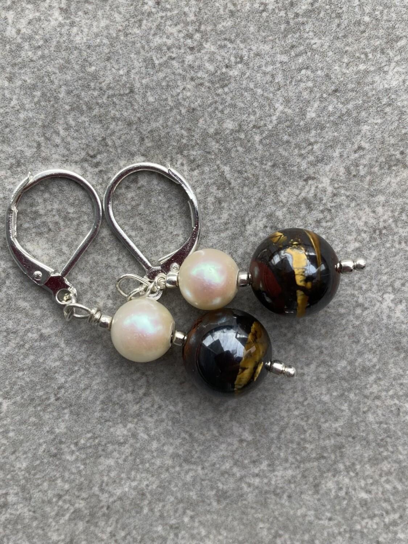 Ohrringe Falkenauge Perle