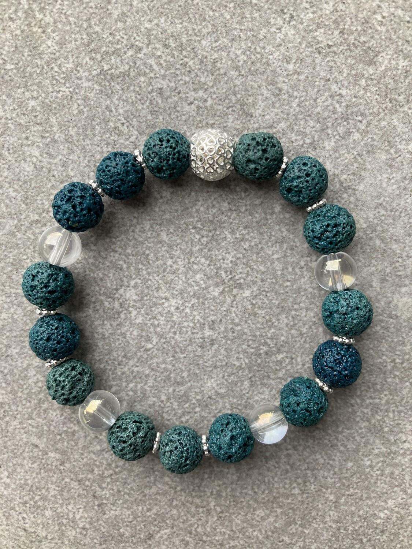 Armband Lava Petrol und Bergkristall