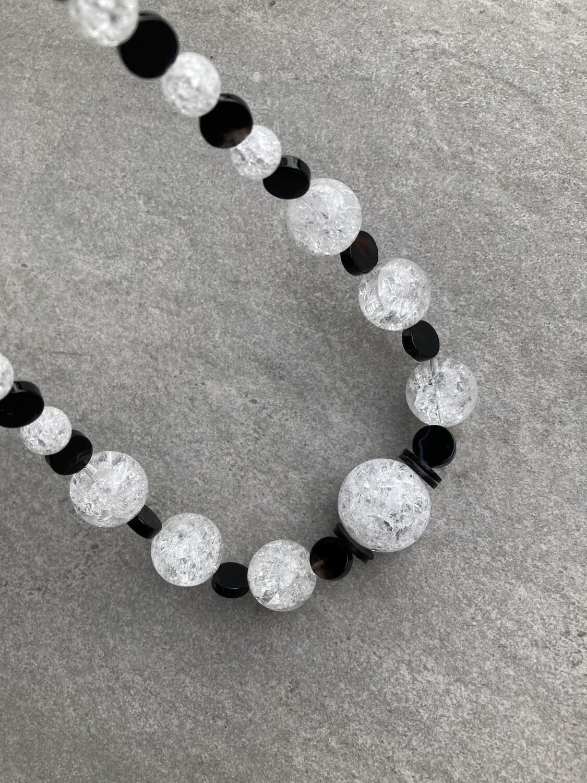 Collier Bergkristall gecrackt mit Achat schwarz