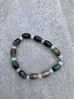 Armband Jade hellgrün und Achat