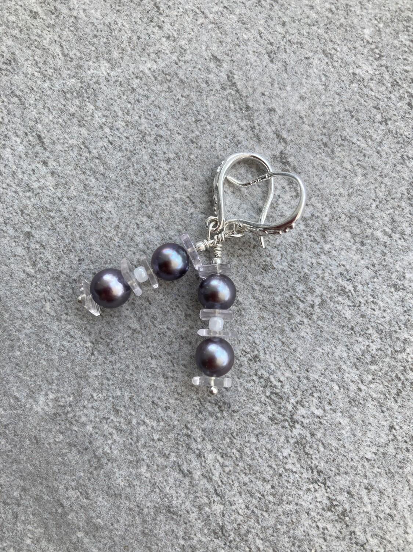 Ohrhänger Perlen dunkelgrau mit Amethyst