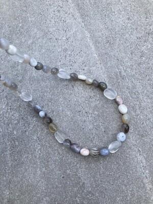 Collier Achat und Bergkristall matt