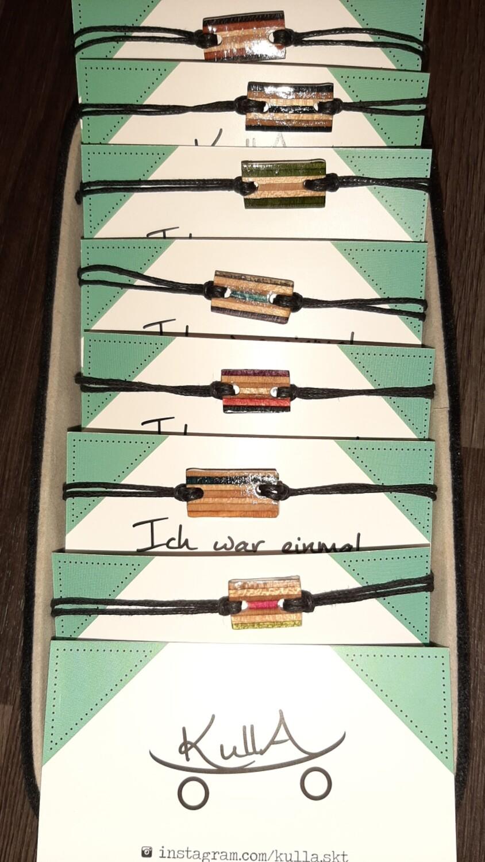 Kulla Armband aus gebrauchtem Skateboard