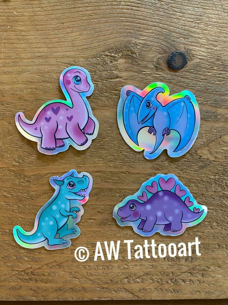 Set van 4 holo dino stickers