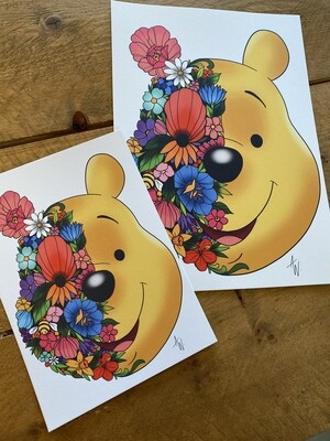 Floral Winnie de Pooh Print