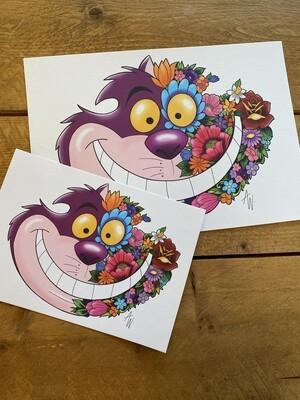 Floral Chesshire Cat Print