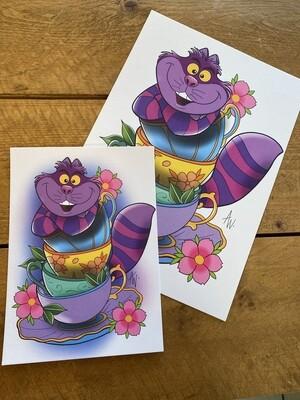 Chesshire Cat Teacup Print