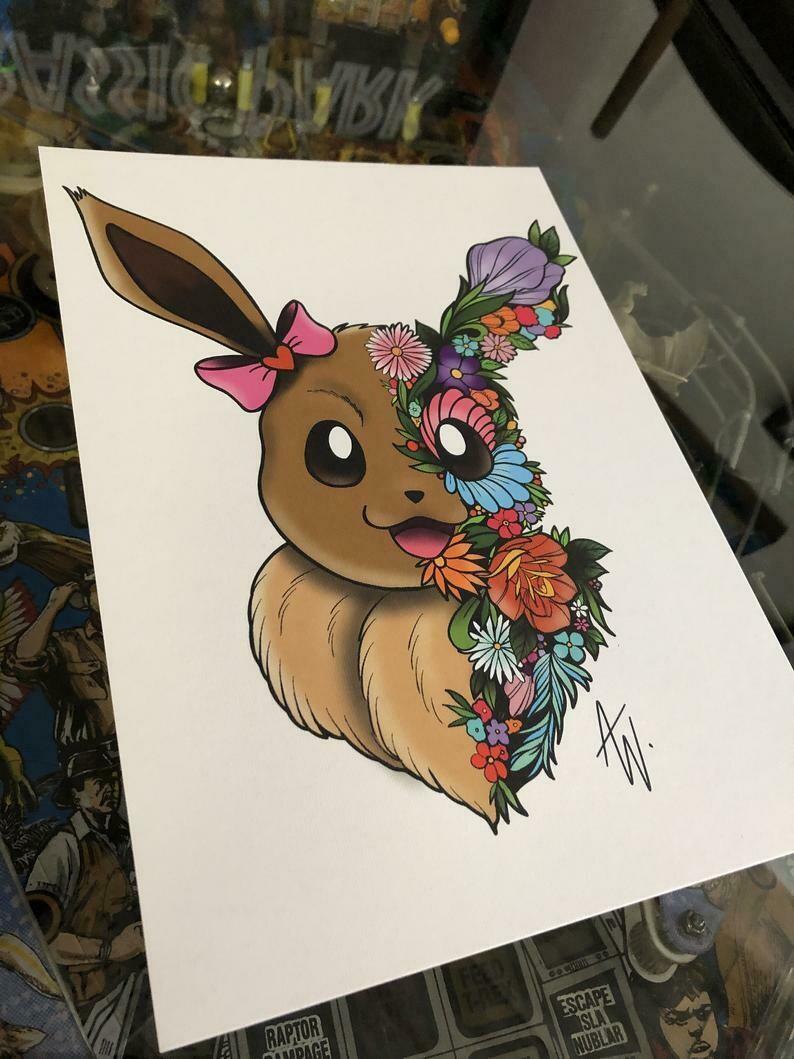 Floral Eevee Print