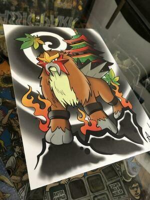 Entei Pokemon Print