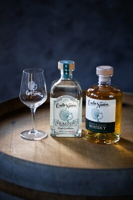 Pack Peacock Smooth Gin & Whisky Peaty Frog's Pit (+ un verre offert)