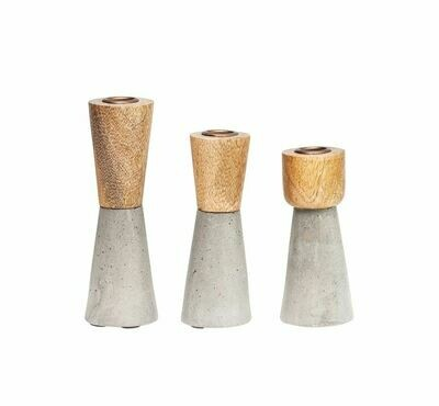 Wood Cement Candle Holder