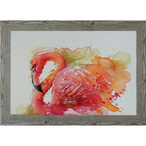 Pink Flamingo w/Rustic Frame