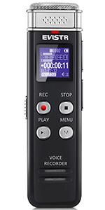 Evistr Enregistreur audio numérique 8 Go Dictaphone, Enregistreur vocal avec lecteur MP3