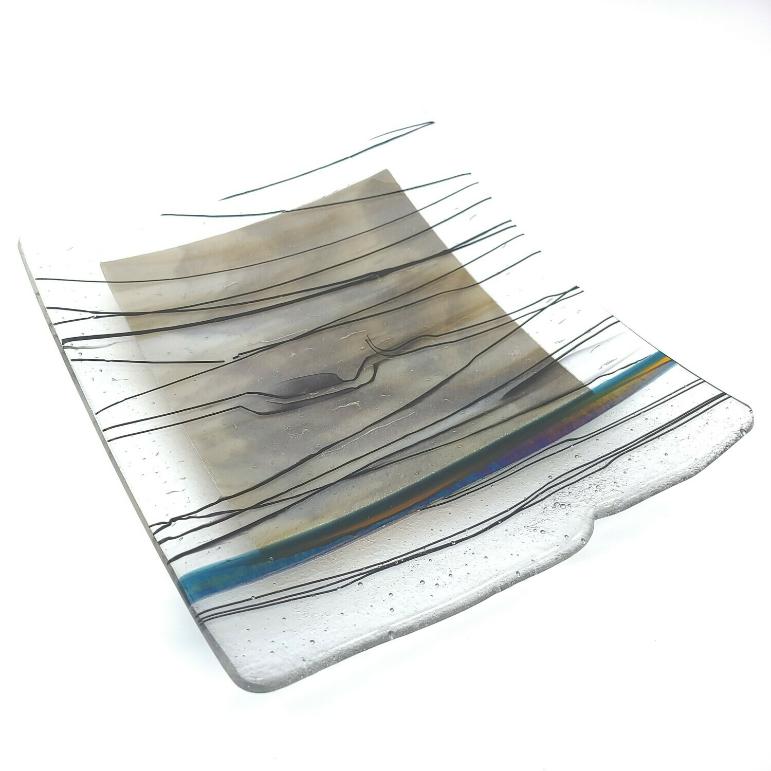 Strings of Black and Brown Square Platter