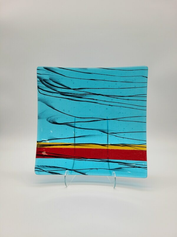 Turquoise Large Dish with Black, Red and Amber Accents