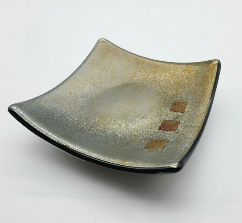 Gold Iridescent Small Fused Glass Dish