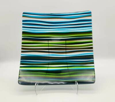Beautiful Serene Waves of Color Fused Glass Platter