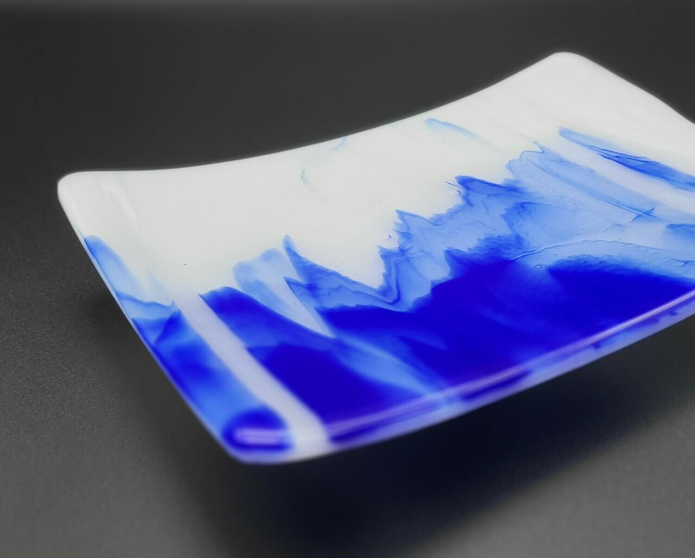 Cobalt and White streaky Medium sized tray