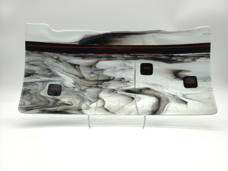Black and White Organic Edge Rectangle Tray with Red Stringer accents