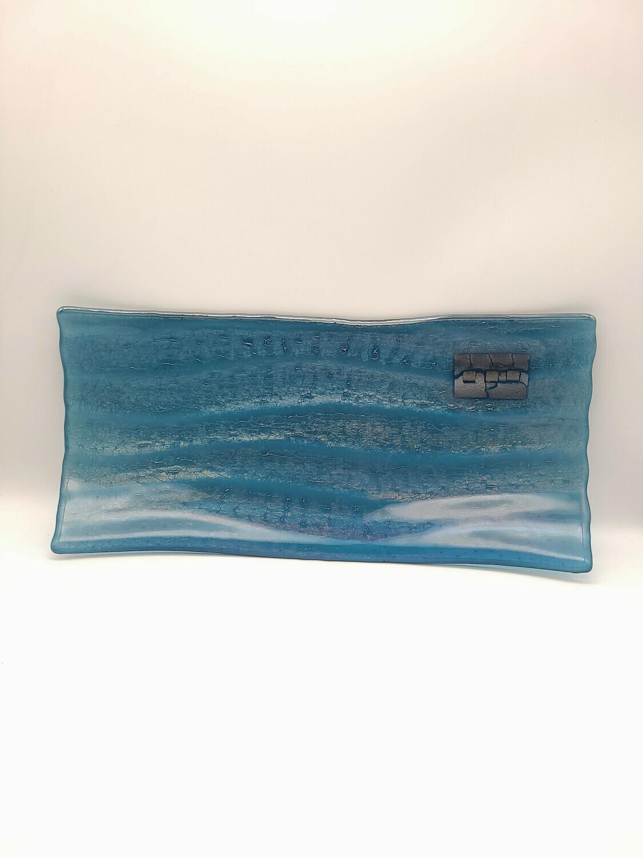 Steel Blue Irid Wavy Based Rectangle Tray