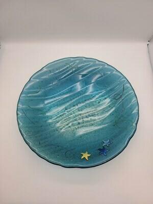 Aquamarine Irid Wavy Based Bowl W/ Starfish and grass accents