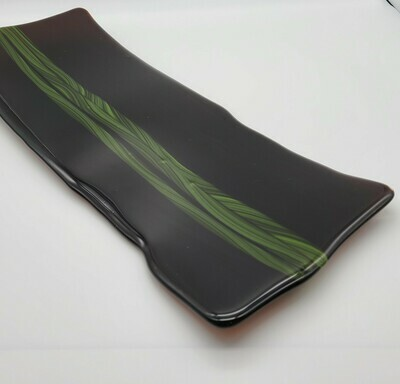 Sienna and Green Cane Fused Glass Tray