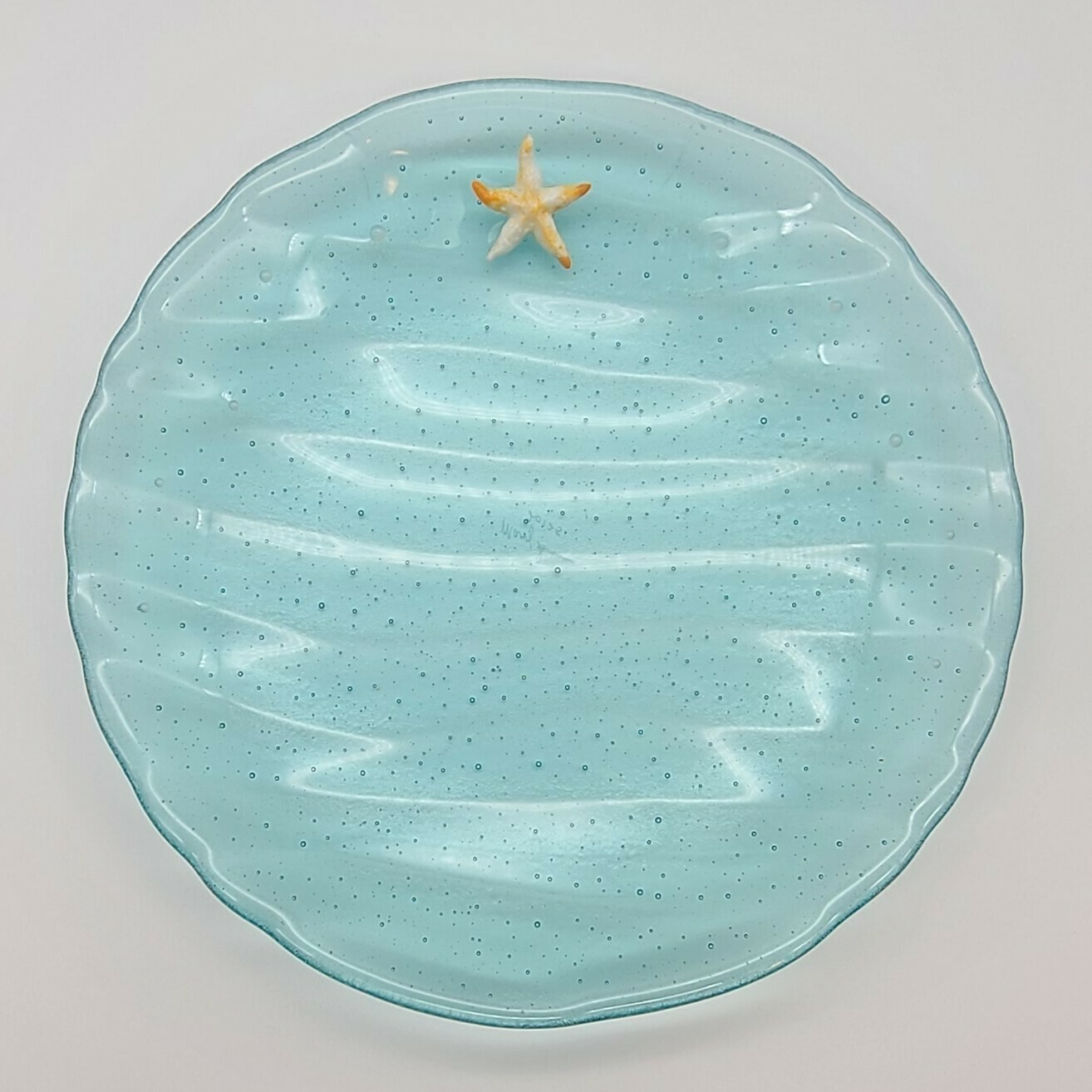 Aqua Bowl with Waves and Starfish