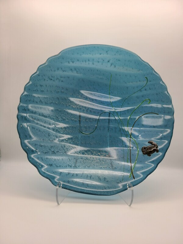 Steel Blue Irid wavy Classic Bowl with Crab and grasses
