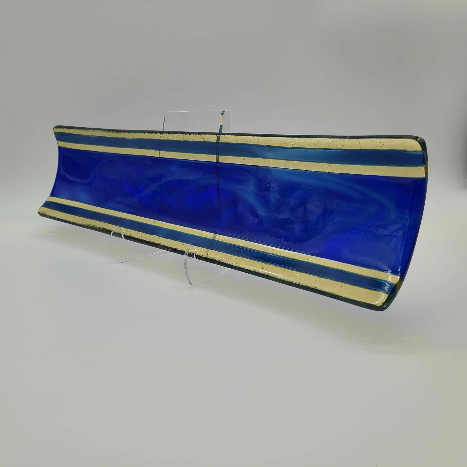 Caribbean Blue and Light Amber Channel Tray