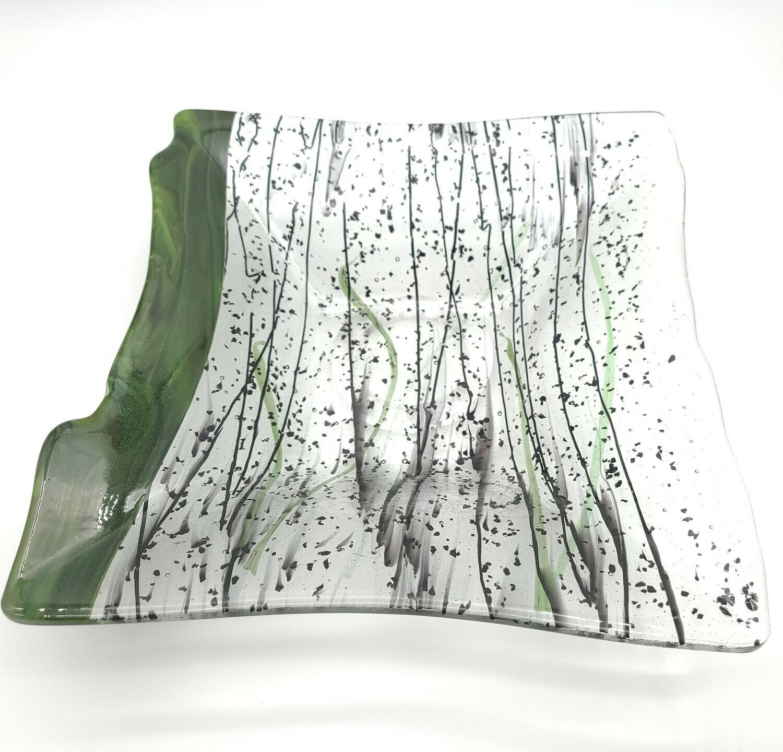 Black Strings of Glass with Sparkly Adventurine GreenSquare Bowl