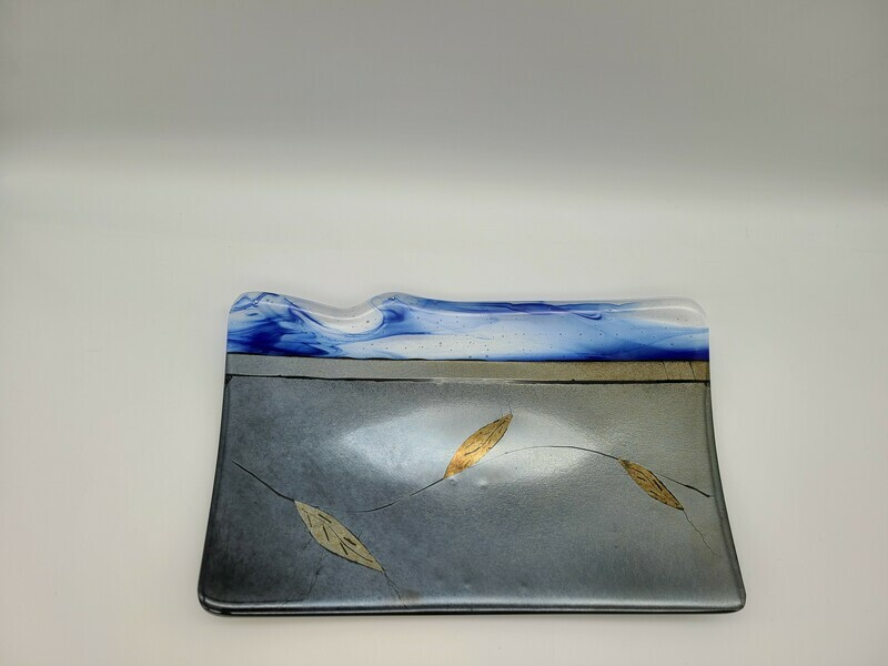 Silver and Gold Irid Tray with Cobalt Streaky and Etched Leaves Tray