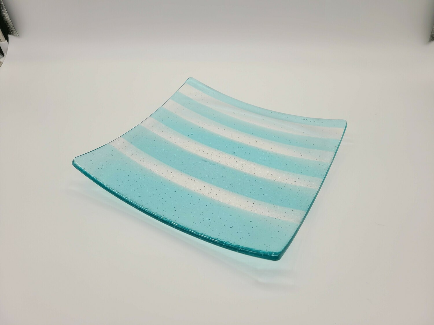 Turquoise and Clear Strip Large Dish