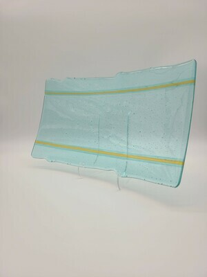 Organic Edged Turquoise Tint with an Amber Strip Large Tray