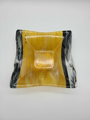 Amber and Black Streaky Square Bowl