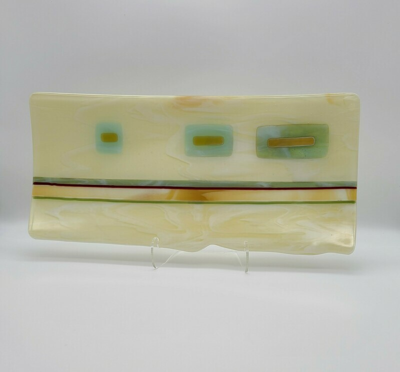 Vanilla Streaky with Amber and Turquoise accents Tray