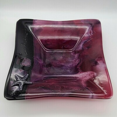 Cranberry Square Bowl with Starfish Accent