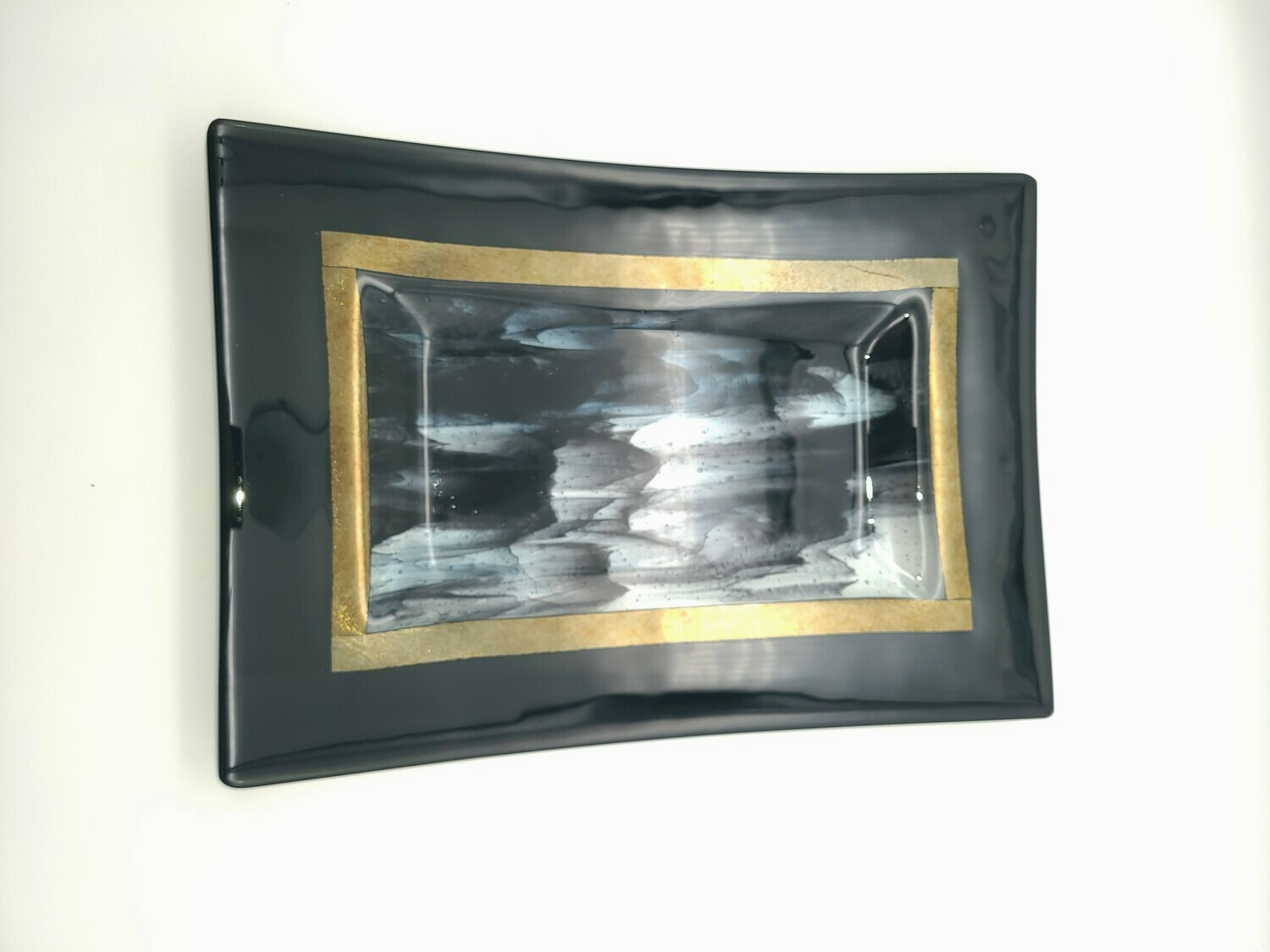 Black, Gold Irid and Clear Large Tray