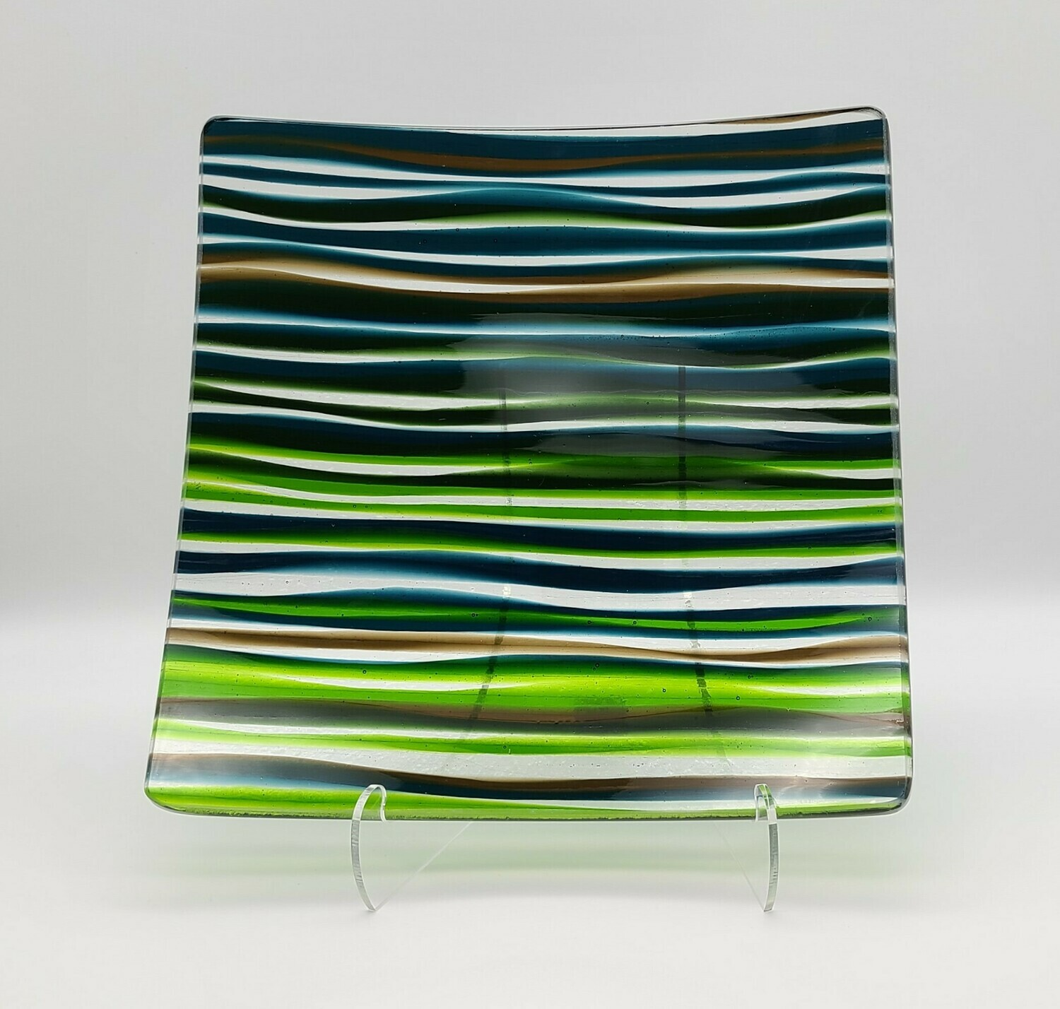 Waves of Vibrant Colors Fused Glass Tray