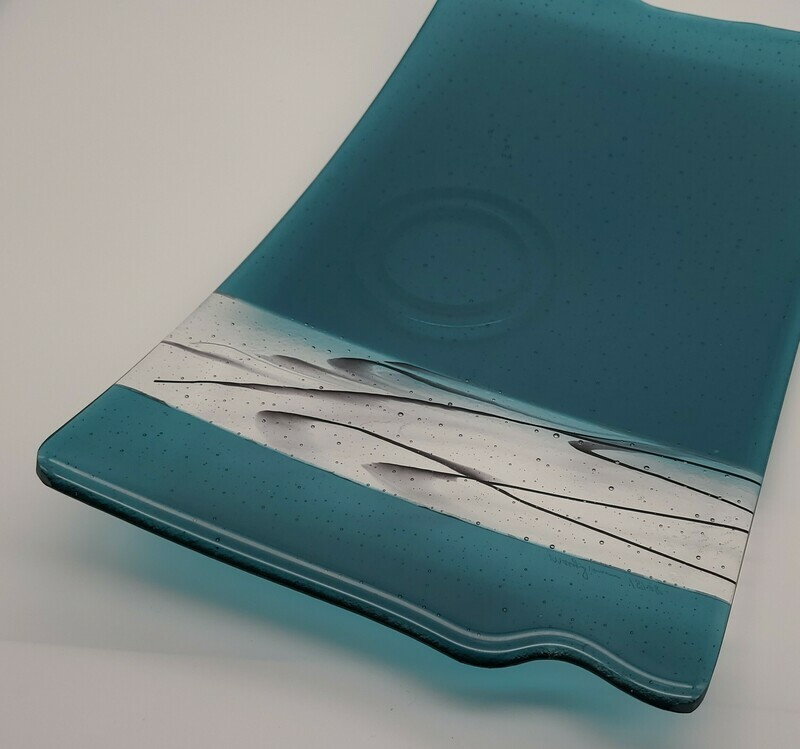 Aquamarine Tray with lines of black glass stringers, Fused glass