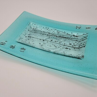 Turquoise with Black Accents Large Tray