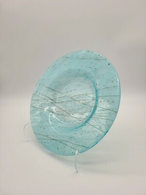 Turquoise Bowl with white and grey accents