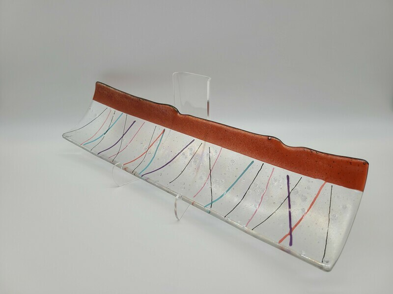 Irid Coral Border of Colorful Stringers Channel Tray