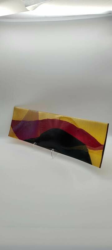 Stunning Long Tray with Gorgeous Red, Amber and Black Accents