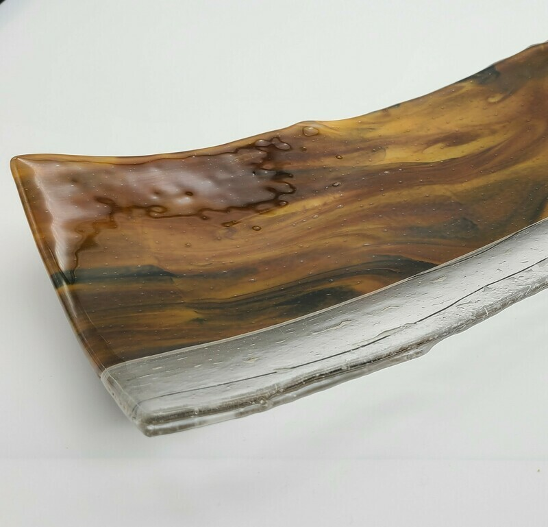 Cafe Latte Fused Glass Channel Tray