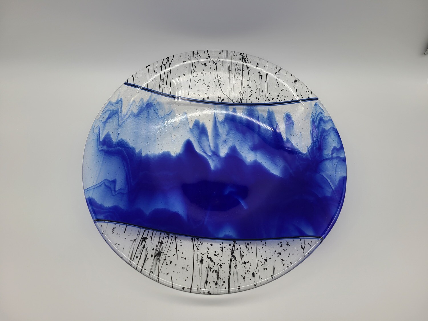 Cobalt Streaky with Black Stringers of Glass Accent Bowl