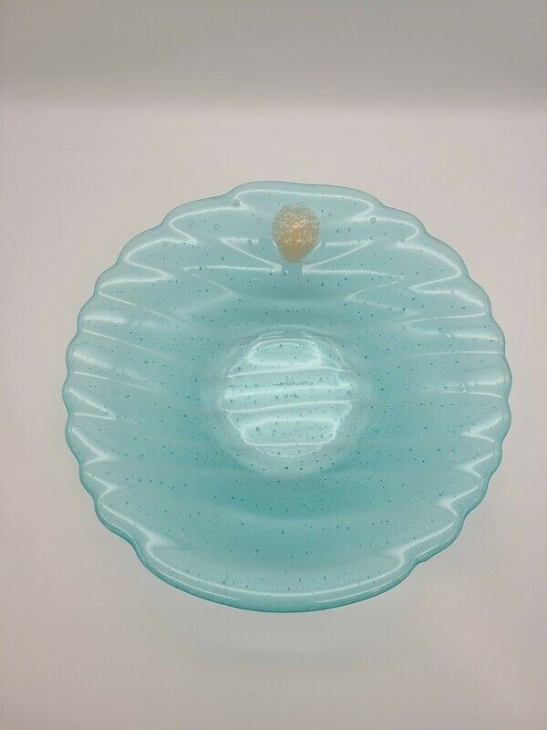 Quietly stunning Scalloped Bowl with Opaline Accents