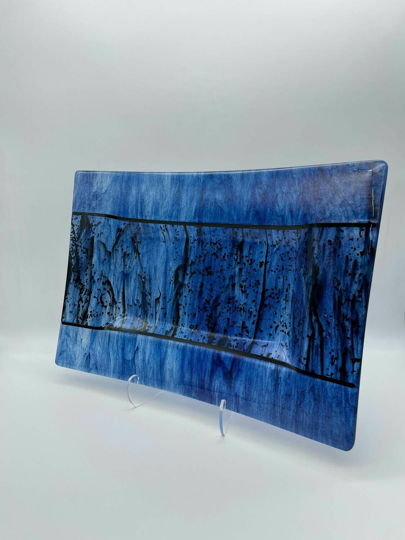 Sparkly Blue Streaky Large Tray