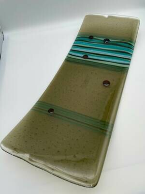 Bronze Long Platter with Turquoise, Bronze and Green Accents.